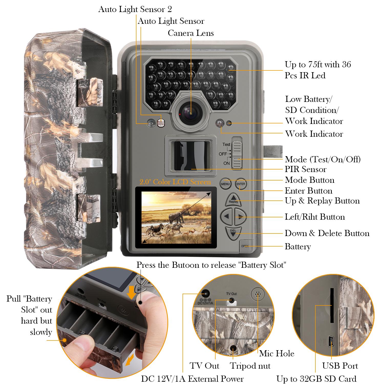 16MP HD Wildkamera Wasserdichter Infrarot Sensor Jagdkamera Nachtsicht Kamera DE
