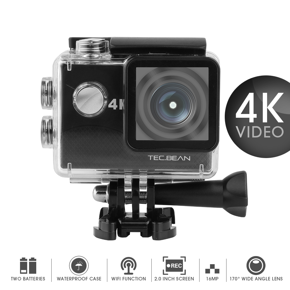 b40785d79 BEAN Action Cam 16MP 4K WiFi Waterproof Sports Camera 170° Ultra Wide-Angle  Len with SONY Sensor