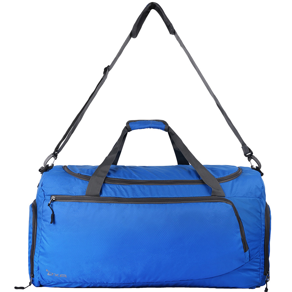 Oxa Large Travel Duffel Bag Lightweight Foldable Duffle With Shoes Compartment And Shoulder Straps For Women Men Blue